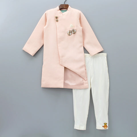Pre Order: Peach Linen Ajkan With Pajama