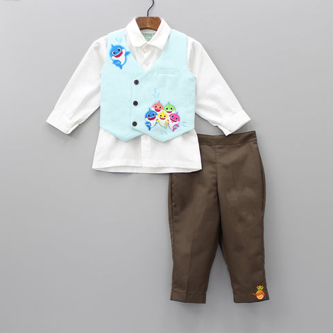 Pre Order: White Shirt And Brown Pants With Shark Print Waistcoat