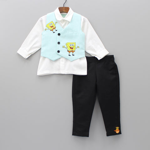 Pre Order: White Shirt And Black Pants With Sponge Bob Print Waistcoat