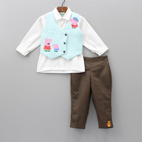 Pre Order: White Shirt And Brown Pants With Peppa Pig Print Waistcoat