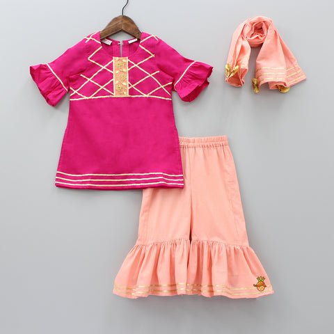 Pre Order: Hot Pink Kurta And Peach Sharara With Dupatta