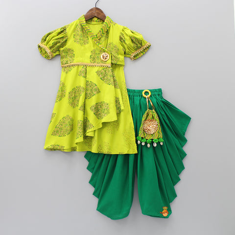 Pre Order: Green Up And Down Kurta With Dark Green Dhoti