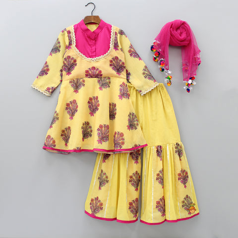 Pre Order: Yellow Floral Print Kurti And Sharara With  Dupatta