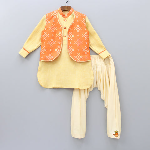 Pre Order: Yellow Kurta And Cream Patiala With Orange Jacket
