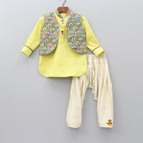 Pre Order: Light Green Kurta And Beige Patiala With Printed Jacket