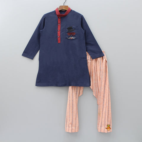 Pre Order: Navy Blue Embroidered And Peach Printed Patiala
