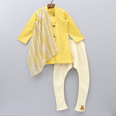 Pre Order: Yellow Kurta With Attached Striped Stole And Beige Churidar