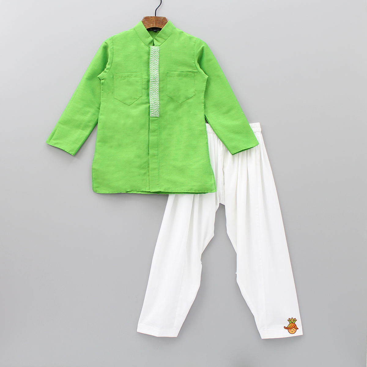Pre Order: Green Kurta With White Patiala
