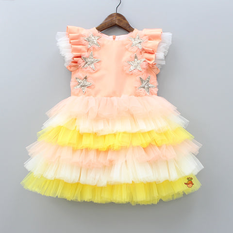 Multicolored Frilly Layered Dress