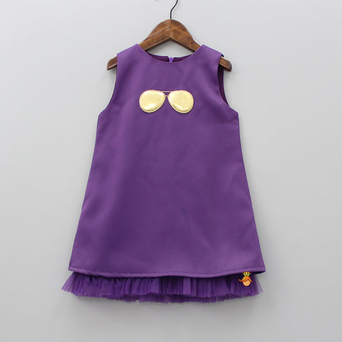 Purple Sunglasses Patch Dress