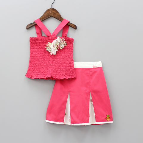 Pre Order: Pink Smocking Top And Skirt Set