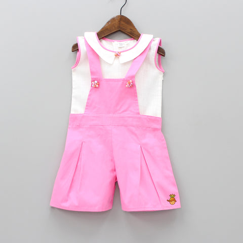 Pre Order: White Peter Pan Top With Pink Jumper Set