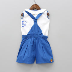 Pre Order: White Peter Pan Top With Blue Jumper Set