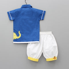 Pre Order: Blue Dino Embroidered Patch Tee And White Shorts