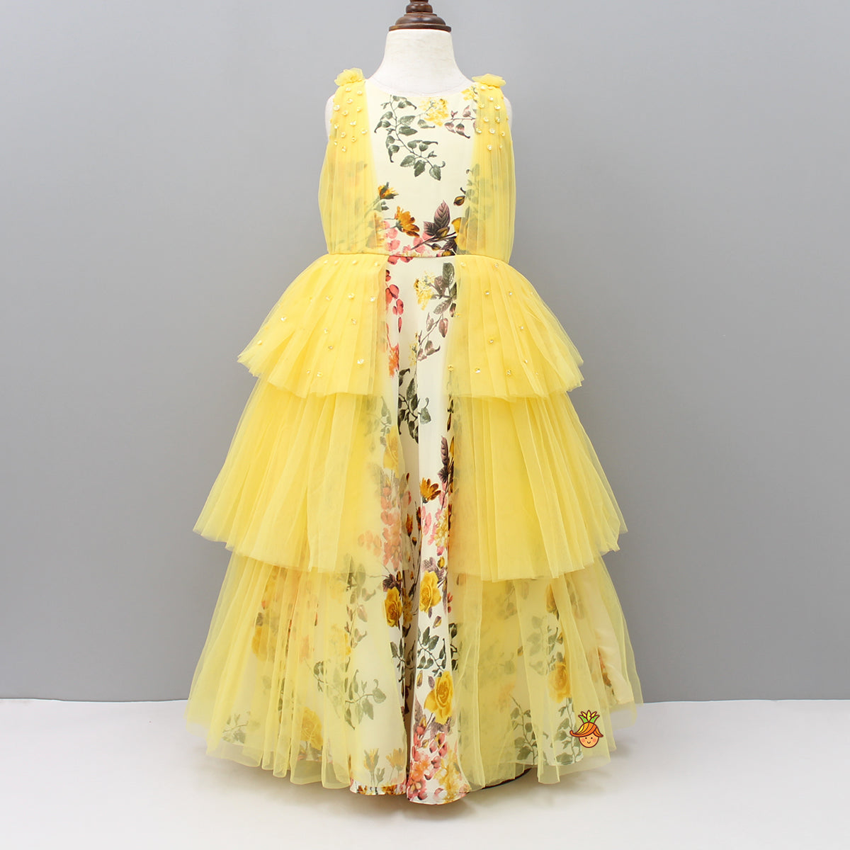 Yellow And Ivory Floral Print Gown