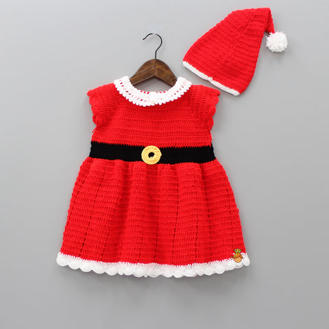 Red Knitted Santa Dress With Cap