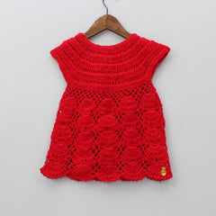 Red Knitted Dress With Headband