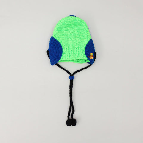 Knitted Green And Blue Headphone Cap