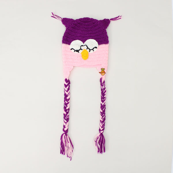 Knitted Purple And Pink Owl Beanie