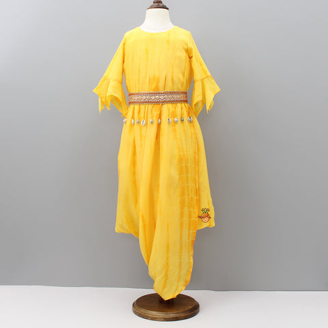 Pre Order: Yellow Dhoti Style Gown