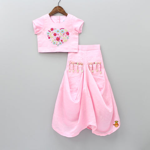 Pre Order: Pink Daisy Dhoti Style Skirt Set
