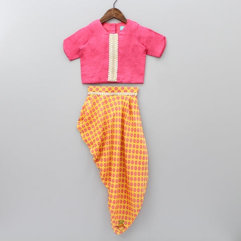 Pre Order: Pink Top And Yellow Dhoti Style Skirt