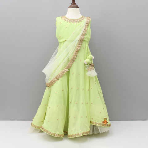 Pre Order: Green Embroidered Anarkali Gown With Attached Dupatta