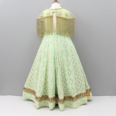 Pre Order: Pistachio Green Embroidered Gown With Cape