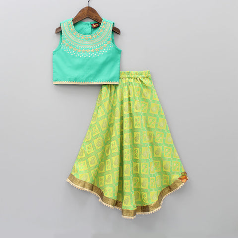 Green Top And Lehenga Set