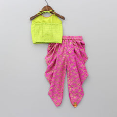 Green Halter Neck Top With Magenta Dhoti
