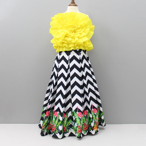 Pre Order: Yellow Flower Top And Flamingo Print Skirt