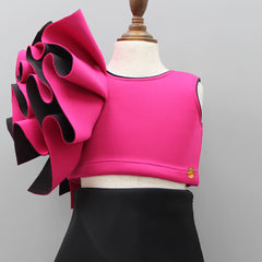 Pre Order: Pink Top And Black Skirt