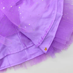 Pre Order: Lavender Floral Top And Layered Lehenga