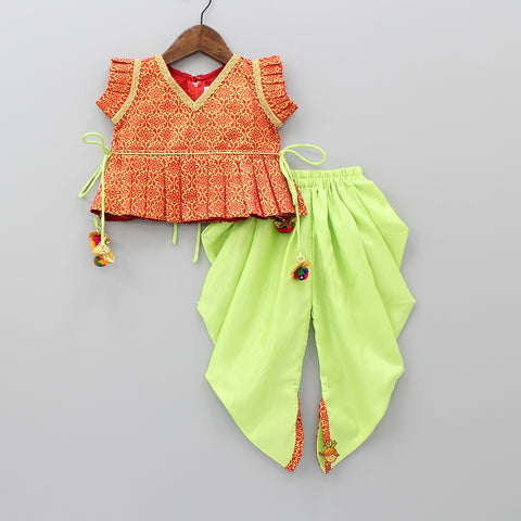 Red Peplum Top With Green Dhoti