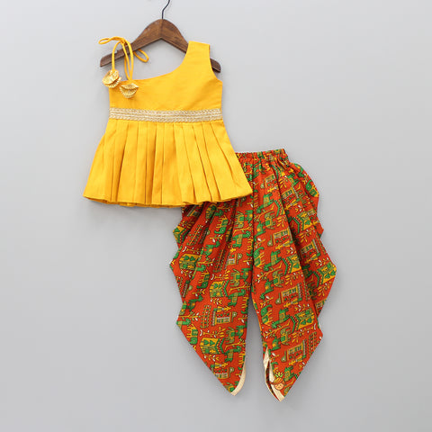 Mustard One-Shoulder Top With Printed Dhoti