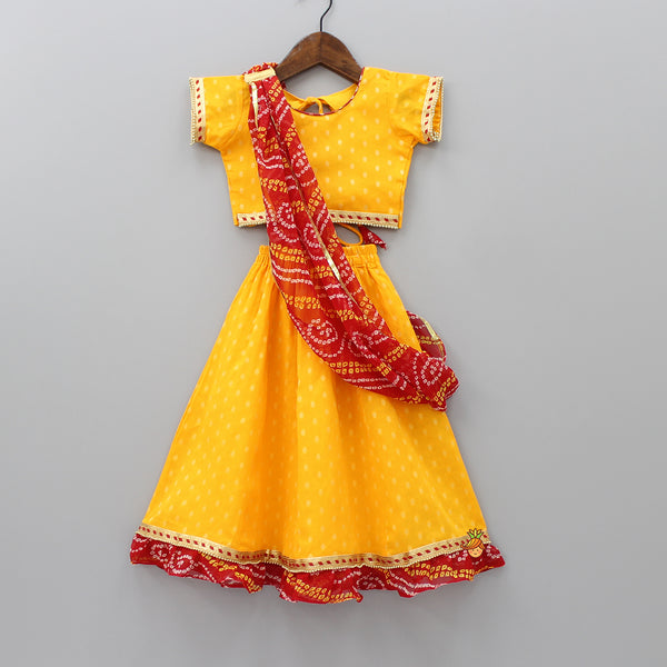 Yellow Lehenga And Choli With Bandhani Dupatta