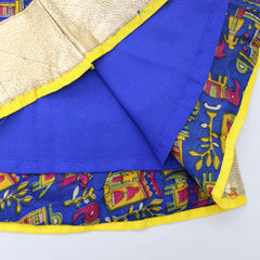 Yellow Choli With Blue Printed Lehenga And Dupatta