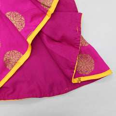 Magenta High Low Peplum Top With Yellow Dhoti