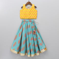 Yellow Choli And Blue Lehenga With Dupatta
