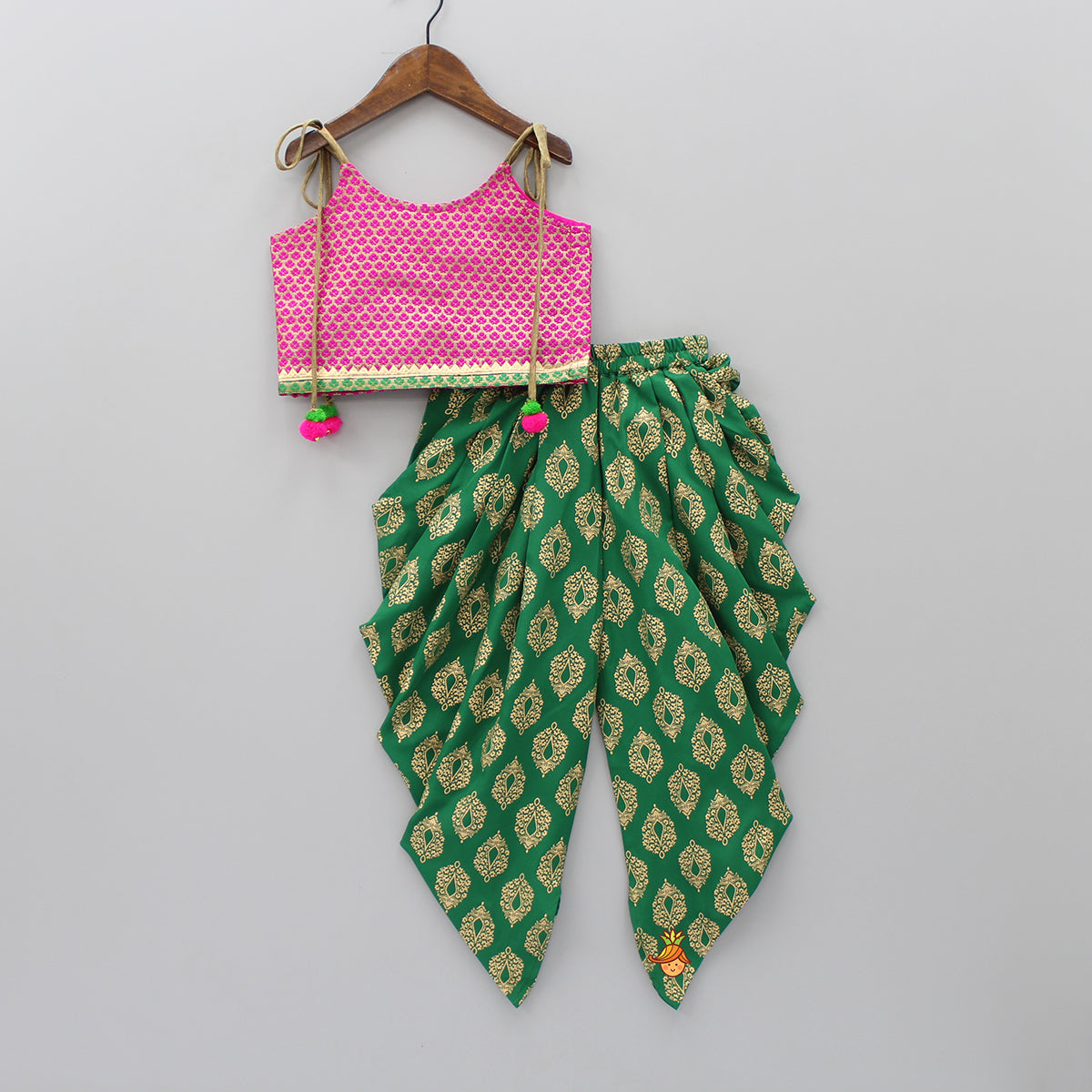 Magenta And Golden Top With Dark Green Printed Dhoti