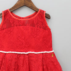 Red Pearly Lace Dress