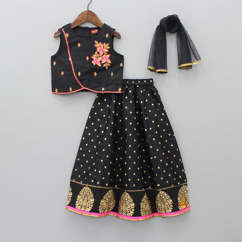 Black Embroidered Top With Ghagra