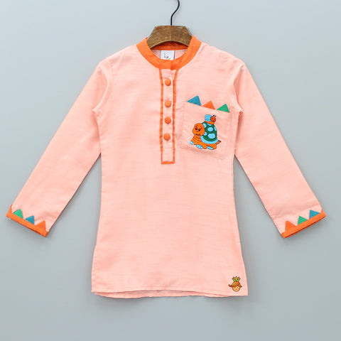 Orange Kurta With Embroidered Patch