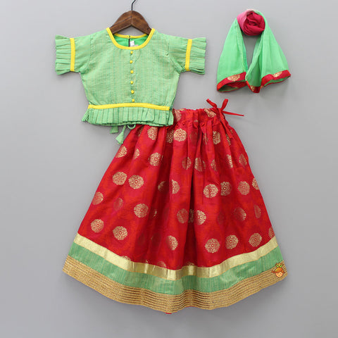 Green Choli And Pink Lehenga With Dupatta