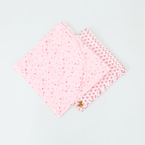 Organic Pink Heart And Star Print Swaddle - Set Of 2