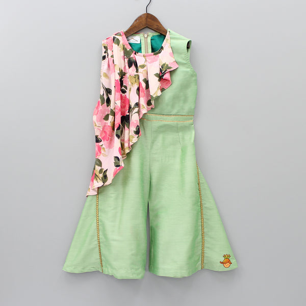 Pre Order: Mint Green Jumpsuit With Attached Side Cape