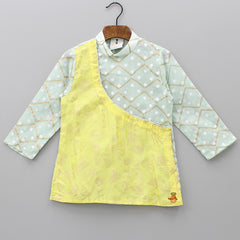 Pre Order: Printed Aqua Green And Yellow Kurta With Off-White Chiuridar