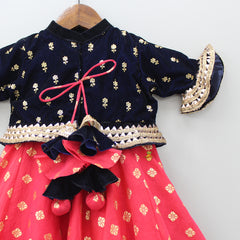 Pre Order: Red Anarkali With Navy Blue Velvet Jacket