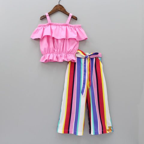 Pink Top And Multicolour Striped Palazzo