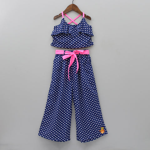 Dark Blue Polka Print Set